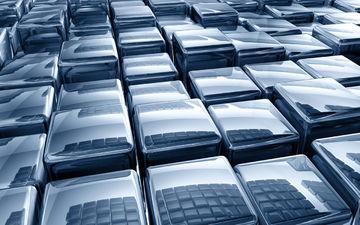 Silver Blue 3-D Cubes Digital Art