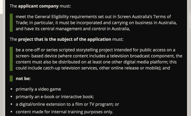 Screen Australia production grant guidelines