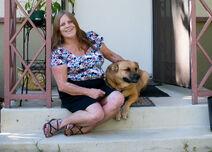 Dorothy Edwards and her dog Gunner