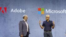 Shantanu Narayen and Satya Nadella at Microsoft Ignite 2018