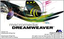 Macromedia Dreamweaver 1.2 trial screen