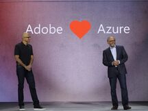 Satya Nadella and Shantanu Narayen at Microsoft Ignite 2016