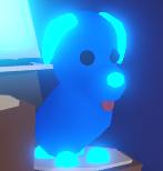 Neon blue dog