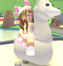 Player riding llama