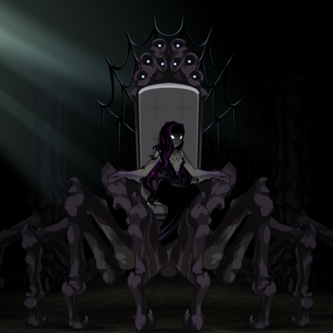 Queen of Monsters on her throne.