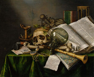 737px-Edwaert Collier - Vanitas - Still Life with Books and Manuscripts and a Skull - Google Art Project