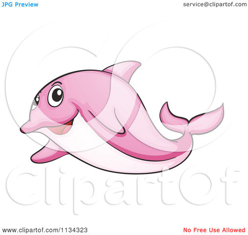 Cartoon-Of-A-Pink-Dolphin-Royalty-Free-Vector-Clipart-10241134323