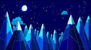 Montagne di Ghiaccio con luna piena