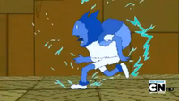 S4 E20 Finn running while being shocked