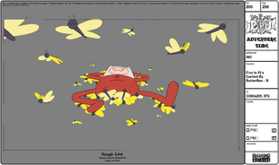 Modelsheet Finn in PJs Carried by Butterflies - B