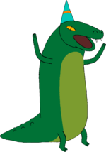 Crocodile with party hat