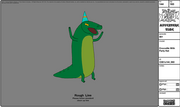 Modelsheet crocodile withpartyhat