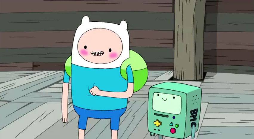 Image - Finn-blushing-over-Princess-Bubblegum jpg