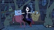 From left to right, Finn, Marceline, Jake