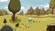 S4e12 Finn, Jake, and BMO playing bocce