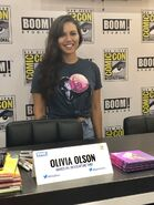 Olivia Olson visiting the Boom booth at San Diego Comic con 2018