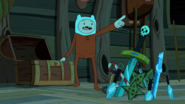 S7e31 Finn in pajamas beside weapons