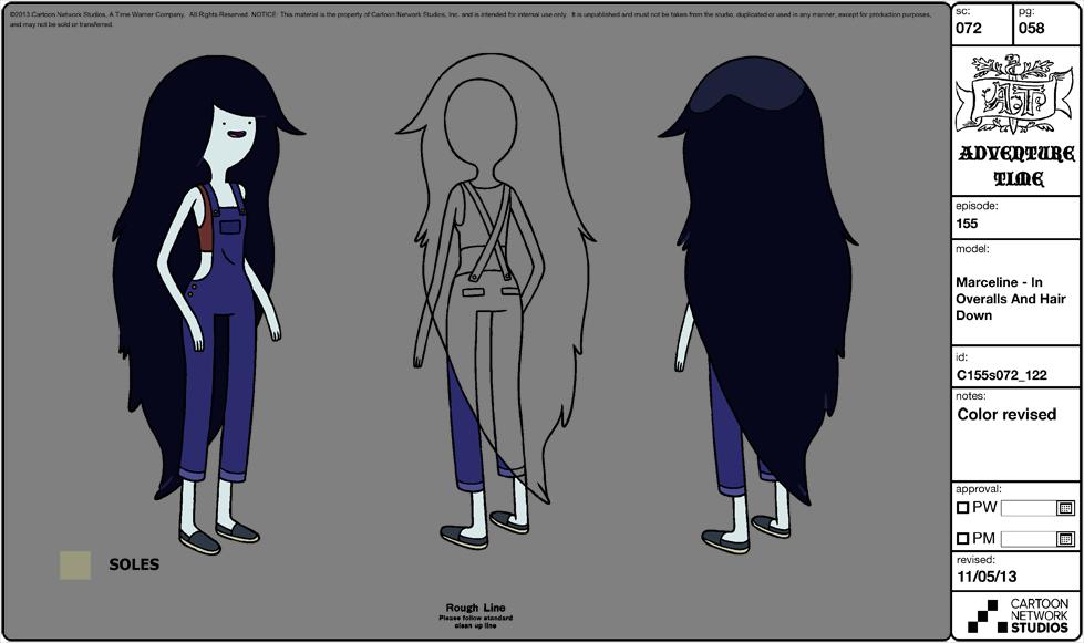 Character Design Adventure Time : Image modelsheet marceline inoveralls and hairdown