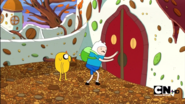 S1e19 Finn and Jake at the Duke of Nuts' castle door