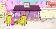 S4 E13 PB Finn and Jake outside candystore