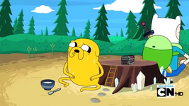 S2e13 Finn and Jake guarding the beans