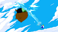 S5e22 Ice King hitting Party God with ice sword