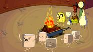 S2e18 Marshmallow Kids running past fire