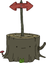 Tree Stump with Sign
