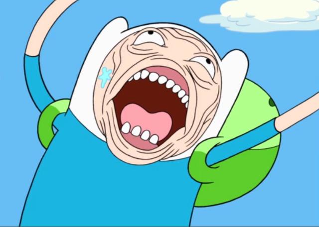 Imagen de la serie HORA DE AVENTURAS, donde el protagonista, Finn, sale con cara de pánico total