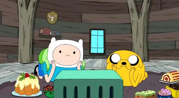File:S3e19 Finn and Jake watching videotape.jpg