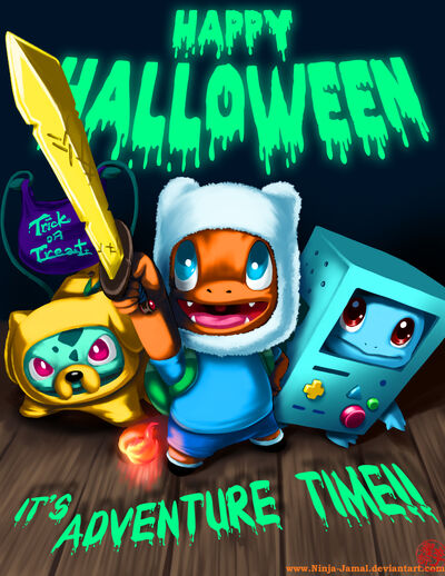 Happy halloween adventure time and pokemon mashup
