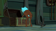 S7e31 Finn tosses crossbow as he digs through weapons chest