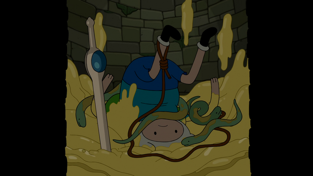 File:S6e21 Finn in well with snakes and butter.png