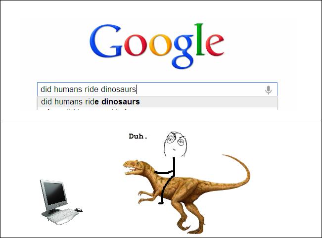 Humans ride dinosaurs