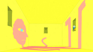 S5 e1 Finn and Jake in yellow room with man painted on walls and floor