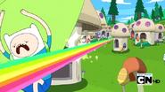 S2e13 Finn dodging rainbow blast