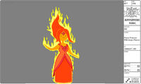 Modelsheet flameprincess withangryflames