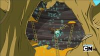 S2e16 Blown out treefort, BMO on ladder