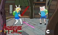Finn shows Fionna his cool sword.