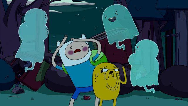 File:S2e26 Ghosts kicking Finn and Jake.png