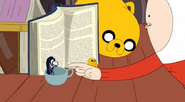 S5 e5 Tiny Marceline, Jake, and Peppermint butler in front of book