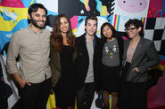 Niki Yang with Adam Muto, Olivia Olson, Jeremy Shada, and Rebecca Sugar