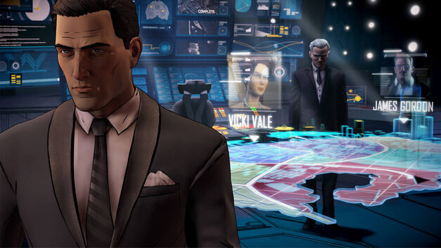 Telltale Games Batman Bruce Wayne doing some high-tech detective work