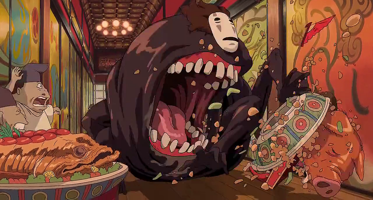 No-Face reveals his mouth in Spirited Away