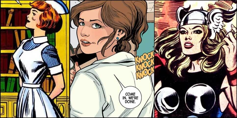 Marvel Comic Panels featuring Jane Foster in 1962, 2014 and 1978