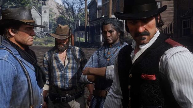 An unknown Native American stands with Arthur Morgan and Dutch Van Der Linde