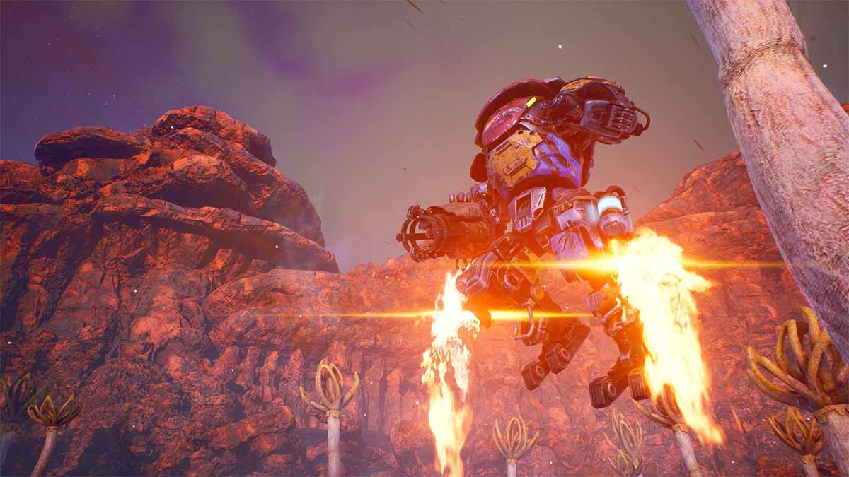 Outer Worlds mech suit jump jet pack