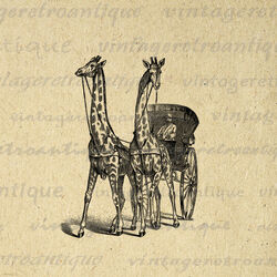 Giraffe carriage antique digital graphic no 298 by vintageretroantique-d5knily