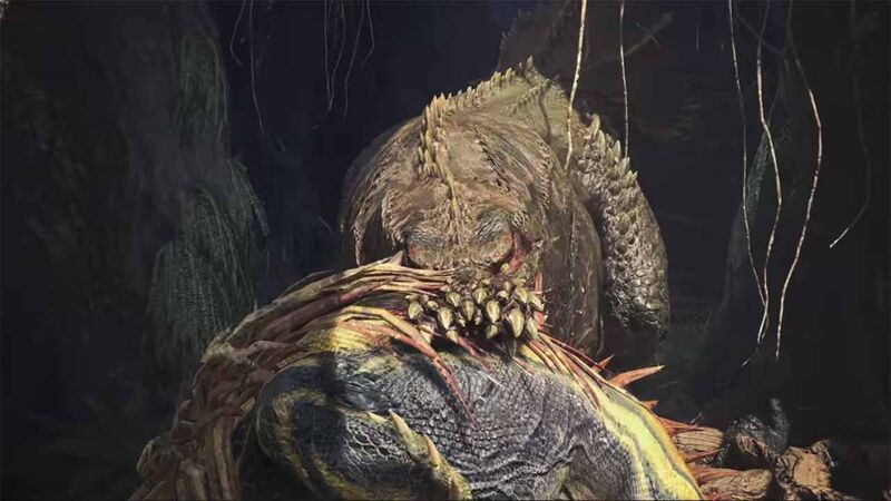 Deviljho holds a Great Jagras in its mouth