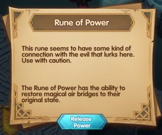 The prompt that appears when clicking the Rune of Power